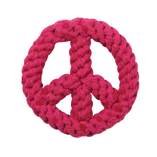 Zanies Peace Sign Rope Toy - Raspberry