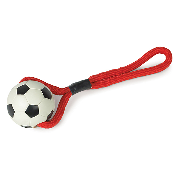 Zanies Sports Rope and Rubber Tugs - Soccer Ball