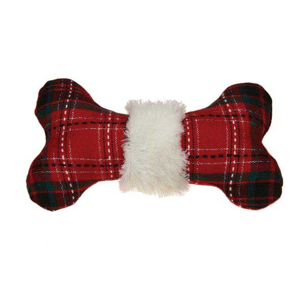 Zanies Yuletide Tartan Bone Dog Toy