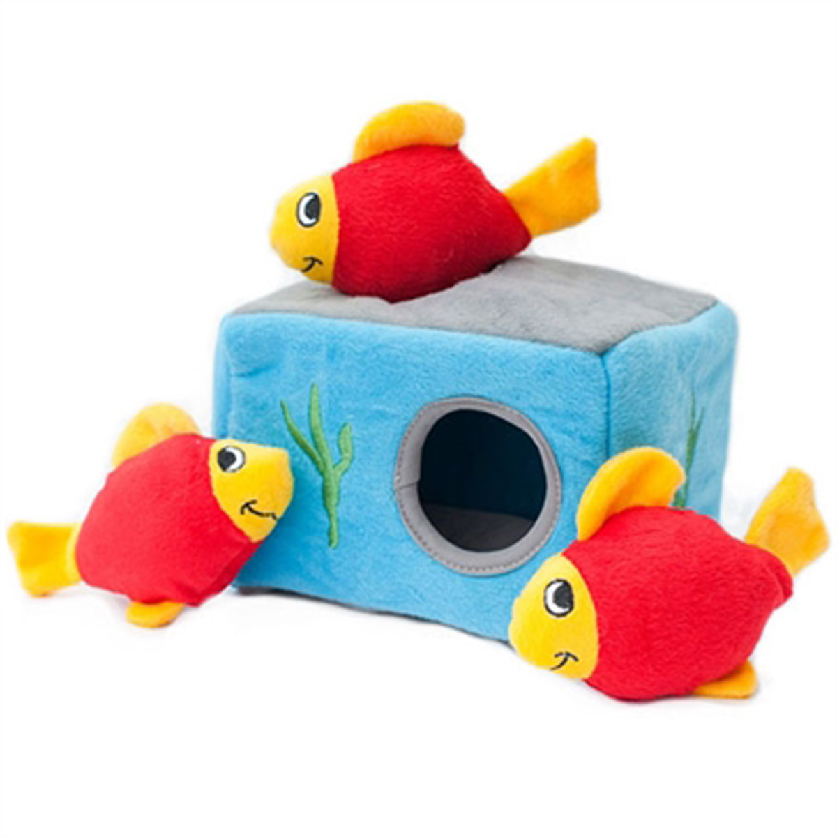 Zippypaws burrow dog toy aquarium with same day shipping for Swimming fish cat toy