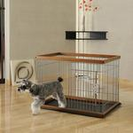 View Image 1 of 2 Way Door Pet Pen with Floor Tray - Brown/Black