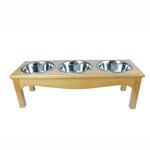 View Image 1 of 3-Bowl Country Style Dog Diner - Honey Pine