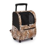 View Image 2 of Animal Print Backpack Dog Carrier on Wheels - Cheetah