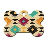 Aztec Bone Large Engravable Pet I.D. Tag - Multi-colored