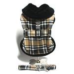 Plaid Fur-Trimmed Dog Harness Coat - Camel and Black