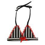View Image 1 of Black & White Striped Dog Bra Bikini Top