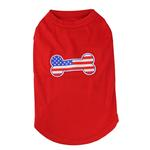 Bone-Shaped American Flag Dog Tank Top - Red