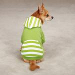 View Image 1 of Brite Stripe Pullover Dog Hoodie - Parrot Green