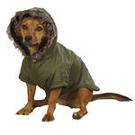 View Image 1 of Casual Canine Fur Trim Dog Parka - Chive