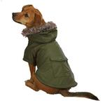 View Image 3 of Casual Canine Fur Trim Dog Parka - Chive