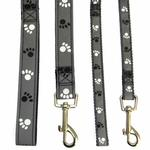 View Image 2 of Casual Canine Reflective Pawprint Dog Leash - Gray