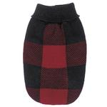 View Image 3 of Checkered Knit Sweater - Red & Black