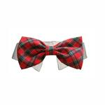 Christmas Tartan Dog Collar & Bow Tie