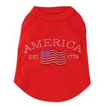 View Image 1 of Classic American Rhinestone Dog Tank Top - Red
