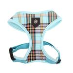 View Image 1 of Classic Plaid Dog Harness by Puppia - Aqua