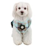 View Image 2 of Classic Plaid Dog Harness by Puppia - Aqua