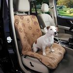 View Image 1 of Cruising Companion Pawprint Single Car Seat Cover - Camel