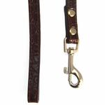 View Image 3 of Crystal Bone Leather Dog Leash - Chocolate Brown