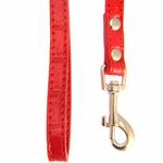 View Image 3 of Crystal Bone Leather Dog Leash - Red