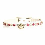 View Image 3 of Deluxe Crystal Dog Collar - White w/ Pink Crystal