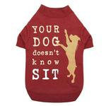 View Image 1 of Dog is Good Doesn't Know Sit Dog T-Shirt - Red