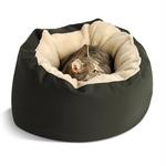 View Image 1 of Donut Sherpa Cat Bed by Dog Gone Smart - Olive