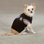 View Image 3 of Academy Argyle Dog Sweater - Chocolate