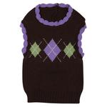 View Image 2 of Academy Argyle Dog Sweater - Chocolate