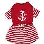 View Image 2 of All Paws on Deck Anchor Dog Dress - Red