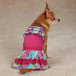 View Image 2 of East Side Collection Confetti Ruffle Dog Tank - Raspberry