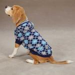 View Image 2 of East Side Collection Hooded Argyle Dog Sweater - Navy