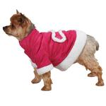 View Image 2 of East Side Collection Hooded Sherpa Dog Coat - Raspberry