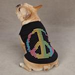 View Image 2 of Electric Peace Sign Dog Tank Top - Black