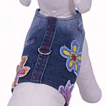 View Image 1 of Euphoria Flower Denim Harness Vest w/ Leash - Blue