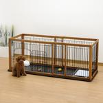 View Image 2 of Expandable Pet Pen with Floor Tray - Brown/Black