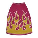 View Image 1 of Flames Dog Tank Top - Pink & Yellow