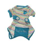 View Image 3 of FouFou Striped Dog Onesie - Blue