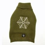 View Image 1 of Frosty's Snowflake Dog Sweater - Sage Green