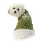 View Image 3 of Frosty's Snowflake Dog Sweater - Sage Green