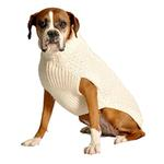 View Image 1 of Handmade Cable Knit Wool Dog Sweater - Natural