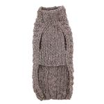 View Image 2 of Handmade Cable Knit Wool Dog Sweater - Gray