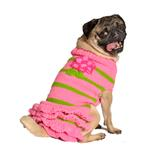 View Image 1 of Handmade Pink Flower Wool Dog Sweater