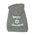 Happy Hanukkah Dog Hoodie - Gray
