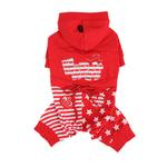 View Image 1 of Happy Star Hooded Dog Jumpsuit by Puppia - Red