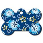 Hawaiian Bone Large Engravable Pet I.D. Tag - Blue