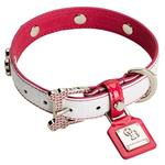 View Image 1 of Heaven White Pink Diamonds Dog Collar by Chrome Bones