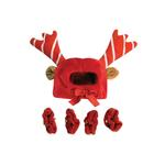 View Image 2 of Holiday Reindeer Dog Costume with Leg Cuffs - Red & White
