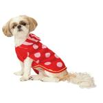 View Image 1 of Hooded Polka Dot Dog Sweater - Red