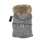 View Image 1 of Houndstooth Coat w/ Fur Trim by Puppia - Black