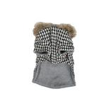 View Image 3 of Houndstooth Coat w/ Fur Trim by Puppia - Black